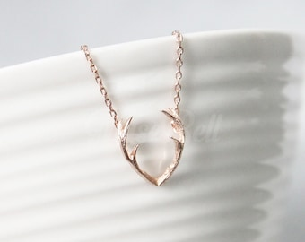 Rose gold antler necklace, Horn necklace, Horn jewelry, Forest woodland jewelry, Animal jewelry, Nature inspired jewelry, Rose gold jewelry