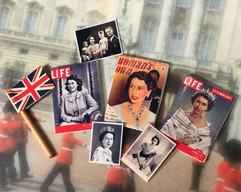 British Royalty, Set, Magazines, Photos, Flags, Dollhouse, Miniature, 1/12 scale, Queen Elizabeth, Family, Coronation, 1940's, 1950's