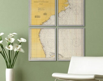 "Central East Coast map 1940, XL nautical chart of Atlantic Coast, up to 60x72"", in 1 or 4 parts, also in blue - Limited Edition of 100"