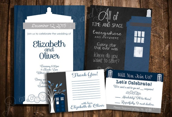doctor who tardis wedding invitation set personalized printable