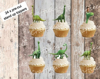 24 x Pre Cut Edible Good Dinosaur Stand Up Cupcake Toppers