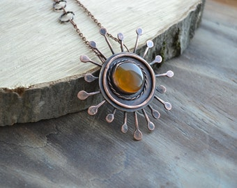 Copper and onyx sun pendant, hammered necklace, metal jewelry
