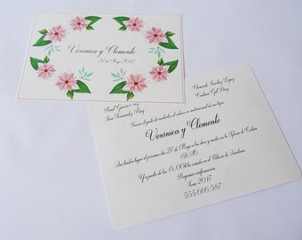 Floral invitation, invitation, weddingcard, rustic invitation, invitation envelope