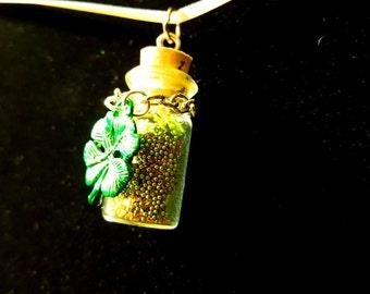 Gold Glitter and Green Microbead Clover Bottle Pendant