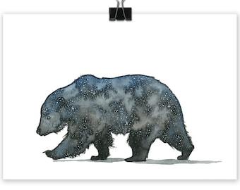 Astro Bear Small Art Print, Bear Painting, Bear, Art Prints, Bear Print, Wall Art, Water Colour, Water Color, Bear, Nursery Art, Nursery