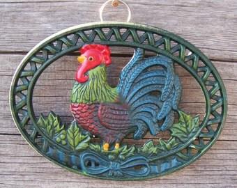 Vintage Cast Iron Rooster Trivet Footed Trivet Rustic Farmhouse Décor