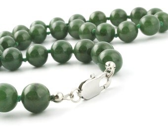 Carving Grade Canadian Nephrite Jade Bead Necklace, 10mm