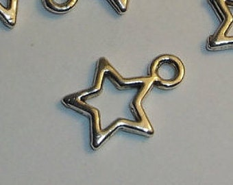 Open star silver charm 10 or 20 charms