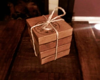 Rustic wooden drinks coasters