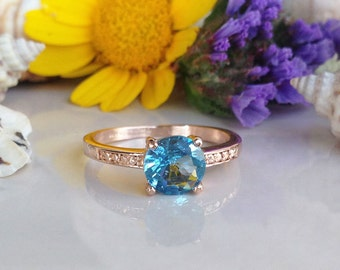 20% off-SALE!! Blue Topaz Ring - December Birthstone - London Blue Topaz  - Topaz Jewelry - Gold Ring - Dainty Ring - Tiny Ring