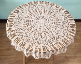 Classic Pineapple crochet pattern table cover, popular round tablecloths for Mom, 100% handmade table topper nightstand cover for home deocr