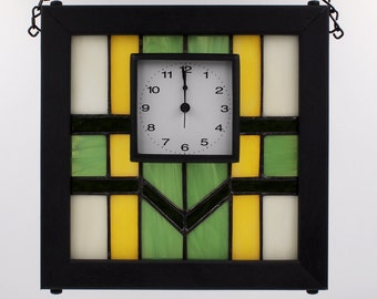 Craftsman Mission Style Green Yellow Ivory Stained Glass Clock Kolor Waves Glass