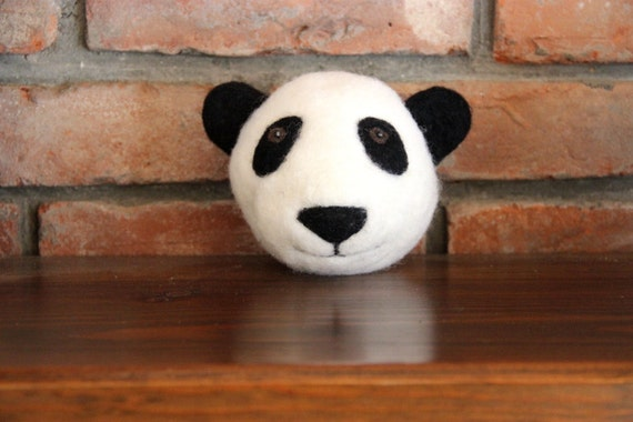 Items similar to needle felted panda bear nursery decor for Panda bear decor