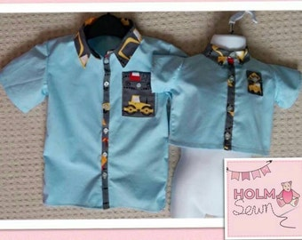 Handmade boys shirt with contrast collar & pocket - made to order