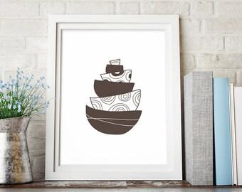 Brown Kitchen Decor, Large Kitchen Wall Art Print, Bowls Printable Kitchen Art, Kitchen Printable Art, Kitchen Print, Digital Download