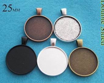 25 Pieces of Double Sided 25mm Round Pendant Tray Setting, Two Faced Pendant Setting