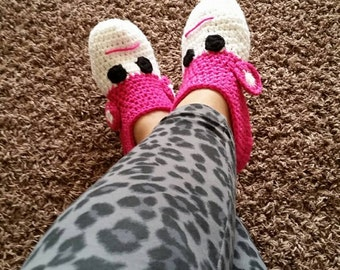 Monkey Adult Crochet Slippers