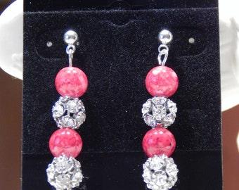 44--Red and Rhinestone Earrings