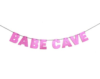 BABE CAVE Glitter Banner Sign Wall Decor - Sparkly Pink - Apartment Decoration - More colors available