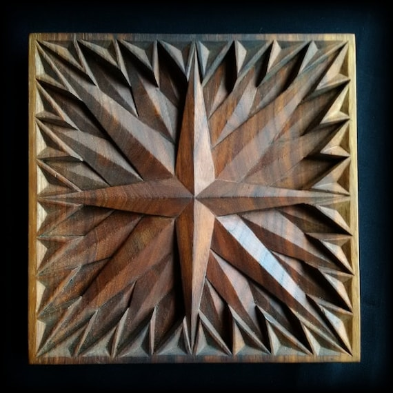 Wood wall art carving compass rose