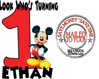 Mickey Mouse Personalized Birthday Iron On Transfer