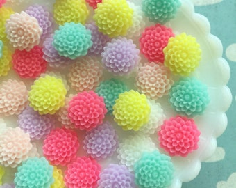 16mm Resin Flower Cabochon Mix - 12 pcs - Pastel Resin Flower Mix