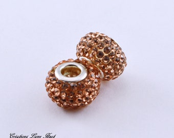 2 or 5 Crystal beads with rhinestone  ! Amber color