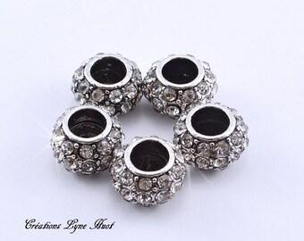 7 European style charm beads tibetan silver, with rhinestones!