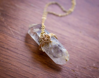 Tibetan Quartz Wire Wrapped Necklace (Gold Filled)