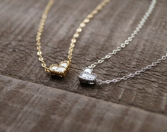 Silver Heart Necklace, Tiny Heart Necklace, Dainty Silver Necklace, Bridesmaid Gift, Gift for Her, Sterling Silver Necklace, Tiny Heart