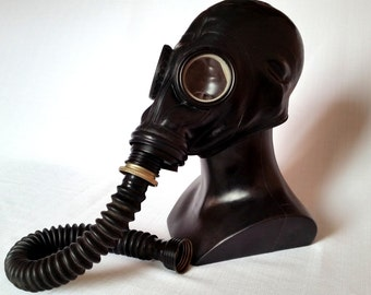 USSR Soviet russian Gas mask GP-5 with hose. Black rubber fetish latex gas mask. Totally black. Size M