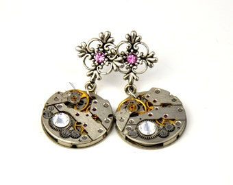 Steampunk Earrings, Antique silver watch movements earrings , Victorian and Steampunk Jewelry,Watch Movements, Swarovski Crystals