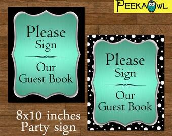 Instant Download Guest Book Sign - Digital turquoise Guest Book Table Sign - Turquoise Wedding Guest Book Sign - Printable Sign Guest Book!!