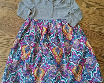 Paisley Dress - Long Sleeved Grey Twirly T-shirt Party Dress - Size 8