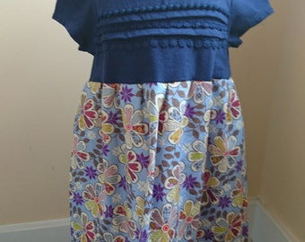 Flower Dress - Blue floral twirly t-shirt Party Dress toddler size 4t