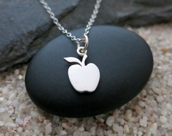 Apple Necklace, Small Sterling Silver Apple Charm, Gift for Teacher