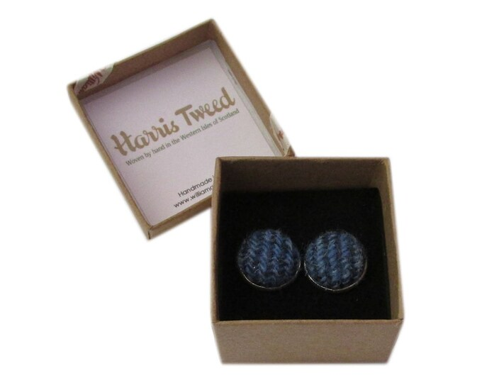 Harris Tweed Blue Striped Handmade Boxed Cufflinks