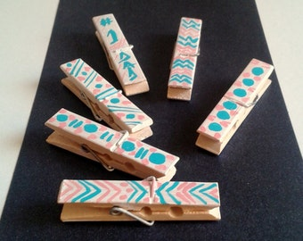 Washi Clothespins,Decorated Clothespin,2.36 Inch Clothespins,Set of 6 Pink,Blue Mini Clothespins,Painted Clothespins Crafts,Chevron,Polka