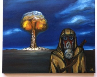 Post Apocalyptic Painting, Original 16 x 20 Oil, Atomic Bomb, Gas Mask, Gasser, Apocalypse, Wasteland, Ready To Hang