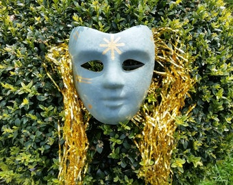 OOAK Sun God mask, summer solstice, pagan ritual, mumming mystery plays, pagan wiccan druid, ritual costume, masquerade mask, Solstice decor