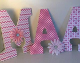 wall letters for baby girl nursery, wood letters with name, name hanging wall letters, Pink letters for girls
