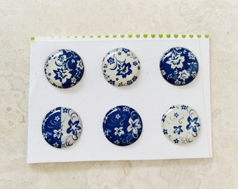 Set of 6 IPhone 3 4 4s 5 5c 5s 6 iPod Touch  iPad Air Blue Flowers Home Buttons