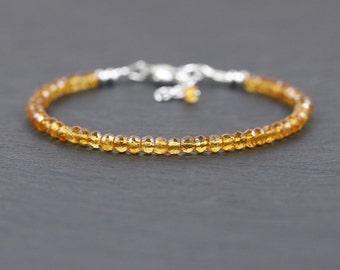 Citrine Bracelet in Sterling Silver, Rose or Gold Filled. Dainty Beaded Gemstone Stacking Bracelet. Delicate Skinny Thin Bracelet. Jewelry