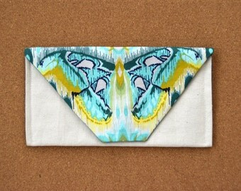 Large Envelope Clutch Purse - Blue Teal Yellow Butterfly Ikat Print