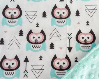 Stroller Blanket with Cuddly Minky Backing - Owl/Mint
