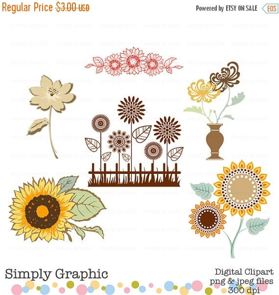 SALE Sunflower Clipart Sunflower Wedding by SimplyGraphicStore