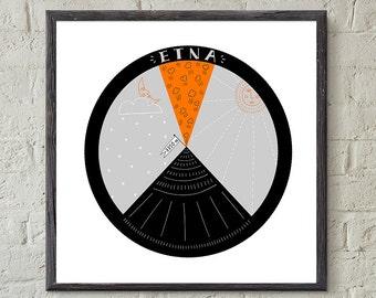 Sicily Art, Etna Art, Travel Art, Kids Art, Digital Download, Printable, Illustration, Volcano, Whimsical, Climb, Mountain, Italy, Souvenir