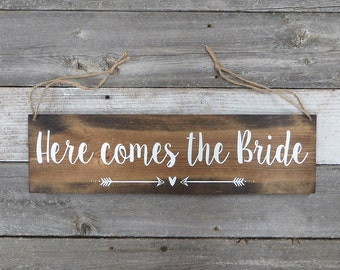 "Rustic Hand Painted Wood Sign ""Here comes the Bride"" - Ring Bearer, Flower Girl - 20""x5.5"""