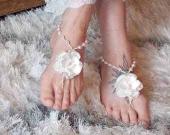 Barefoot Sandals with Flowers and Color Pearls, Wedding Sandals, Bridesmaid Shoes, Beach Footwear, Garden Wedding, Barefoot Jewelry, Hemp