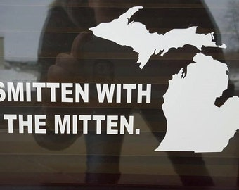 Smitten with the Mitten Car Decal or Sticker, Window Decal, Custom Decal